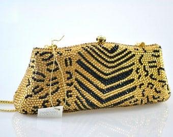 Swarovski ELEMENTS Gold Black Cheetah animal Crystal Minaudiere Metal rectangle clutch purse bag
