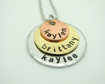Hand Stamped Tri Color Name Necklace, 3 Disc, Name and Date,  Silver, Brass, Copper
