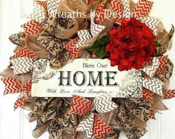 Burlap Wreath-Bless this Home Wreath-Wedding hydrangea-Wreaths-Front Door Wreath-Summer Wreath-