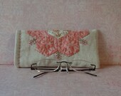 Hand Made Eye Glasses Case Linen & Cotton Pink Floral Applique Grandma's Flower Garden