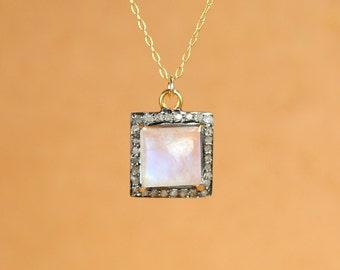 Diamond and moonstone necklace - pave diamond necklace - rainbow moonstone necklace - square diamond pendant - gemstone necklace