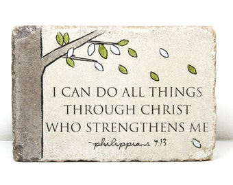 Rustic Scripture Decor.  Indoor or Outdoor.  6x9 Tumbled Concrete Paver. PHIL 4 13 I can do all things through Christ who strengthens me.