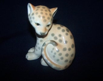 Cute USSR (Russian) porcelain cheetah cub.