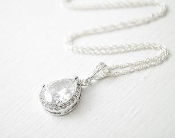 CZ Teardrop Pendant, Bridal Necklace, Sterling Silver Chain, Bridal Necklace, Wedding Necklace