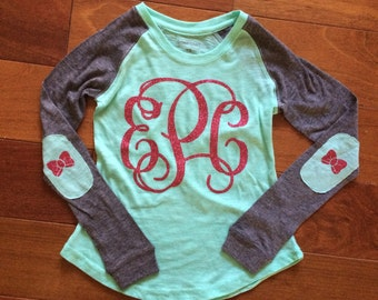 Monogrammed youth shirt with bow elbow patches