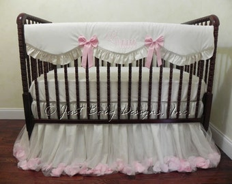 Baby Girl Crib Bedding Set Gracee - Ivory and Pink Baby Bedding, Cream Crib Bedding, Bumperless Crib Bedding, Crib Rail Cover