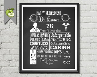 Ophthalmologist, Optometrist, Opticial, Retirement gift,  Eye Doctor retirement, Personalised typography, unique gift,  DIY Printable