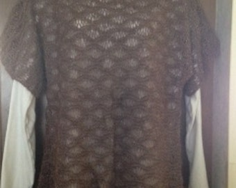 hand knitted lace alpaca vest