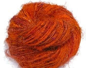 SALE Premium Recycled Sari Silk Yarn,  Orange