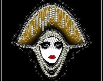 Cherish Mini Print - goddess  - 1920s - head dress - femme fatale - vintage - vamp - flapper - dark art - gothic art - pop surrealism