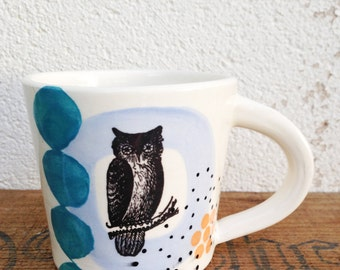 Owl Mug Ceramic Handmade
