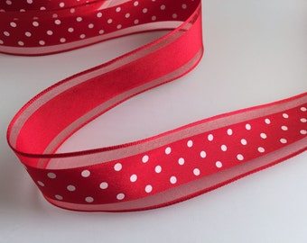 Red Wire-Edge Wide Ribbon with white Polkadots -  1.5Inch wide - cut to length - YARDS