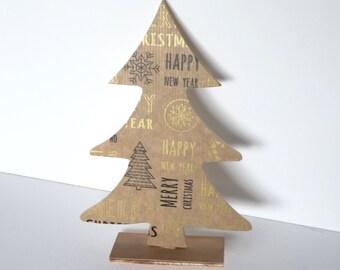 Wooden Christmas tree,SALE,Decoupage,Christmas decoration,Beige Christmas decoration