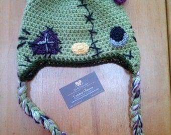 Zombie Hello Kitty Crochet Earflap Beanie