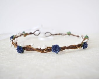 Navy Flower Crown, navy blue flower crown, winter wedding, boho wedding, flowergirl garland, floral crown, bridesmaid - LAYNA