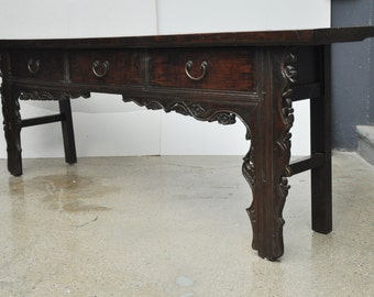 Vintage Chinese Walnut Buffet with Floral Carving