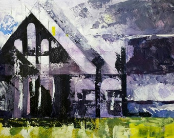 Whitby Abbey acrylic painting (handmade, unique item)