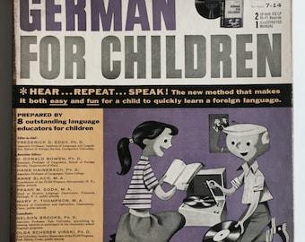 Mid-Century Children's German Language Lessons - Vinyl Record Set- Hear, Repeat, Speak