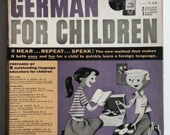 Mid Century Children's German Vinyl Record Set- Language Lessons