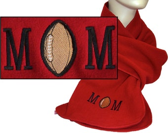 Football Mom Winter Fleece Sports Scarf Your Team Colors Custom Embroidered
