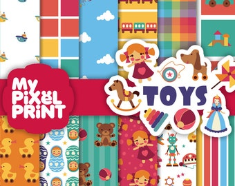 Toys - Play Fun Children Kids Dolls Kites Boats Robots Teddy Bears Russian Doll Toy Story - Digital Scrapbooking Paper Pack - My Pixel Print