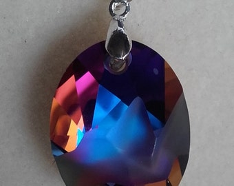 Volcano coloured Swarovski and sterling silver pendant necklace