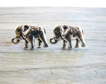 Silver Elephant Studs Small Elephant Jewelry Post Earrings Cute Safari Animal, Elephant Earrings