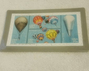 1982 Hot Air Balloon Commemorative Puzzle Series Postcard, Set of 4, Vintage