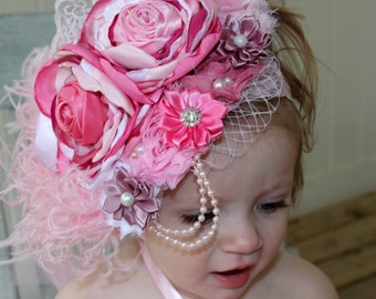 Elegant Vintage Pink and Mauve Couture-Baby Headband-Photo Prop-Couture Headband, Fascinator, Over the Top Headband, Baby Headband