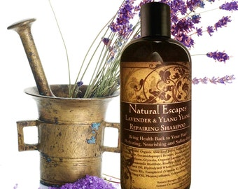 Lavender & Ylang Ylang Repairing Shampoo, Organic Shampoo for dry, damaged hair, moisturizing shampoo, all natural shampoo, sulfate free