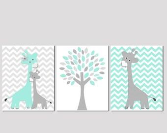 Aqua and grey Nursery Art Print Set, Kids Room Decor -  Love tree, Giraffe family, baby giraffe, chevron, aqua, grey
