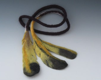 Felted Feather Necklace, Felted Necklace, Felted Feather, Feather Necklace, Felted Jewelry