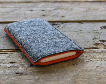 iPhone Sleeve / iPhone Cover / iPhone Case in Mottled Dark Grey and Orange 100% Wool Felt