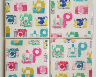 Ceramic Tile Coaster Set: Vintage Cameras/vintage camera coasters/camera/Ceramic tile coasters/multicolored vintage camera/camera design
