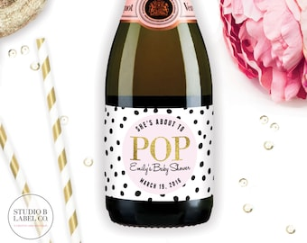 About To Pop Mini Champagne Labels - Baby Shower Favors - Champagne Bottle - Baby Sprinkle Decorations - Label Stickers