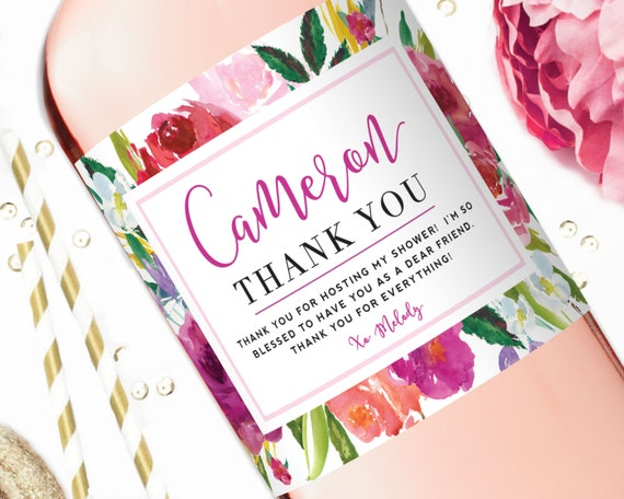 Wedding Shower Thank You Gifts: Wine Label Hostess Gift Bridal Shower Wine Labels