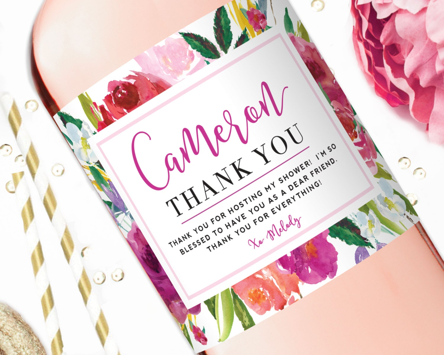 Thank You Gift Custom Wine Labels Hostess Gift Thank You