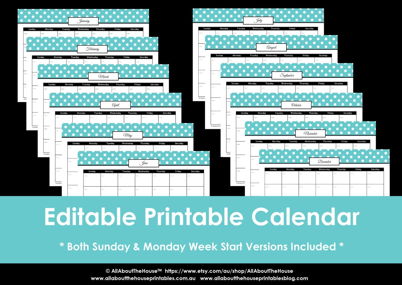editable polka dot calendars you choose 2017 2018 etc