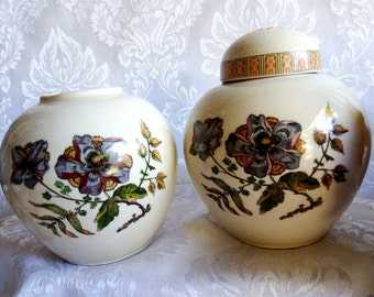 Antique Ginger Jars Cream White with Hand Painted Bontanical Motif