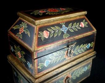 Antique Folk Art Chest Folk Art Box Humidor Wooden Chest Dowry Box Jewelry Box