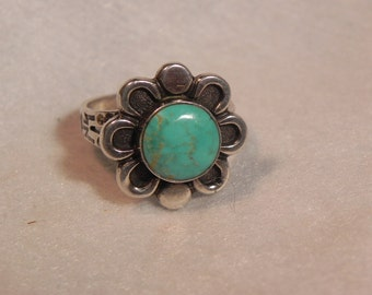 Vintage Ring Native American Flower Design Marked Sterling With Turquoise Center Sz. 8