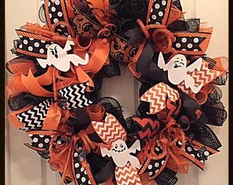 Halloween Orange and Black Deco Mesh Ghost Wreath/Halloween Ghost Wreath/Orange and Black Halloween Ghost Wreath/Halloween Wreath
