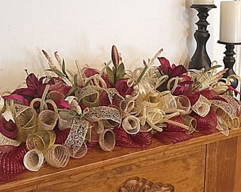 "32"" Elegant Burgundy Lily Deco Mesh Mantel Arrangement/Burgundy Lily Arrangement/Burgundy Lily Centerpiece/Lily Mantel Arrangement"