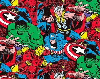Avengers Comic Pack SuperHeroes Fabric Hulk, Thor and More 1/2 Yard