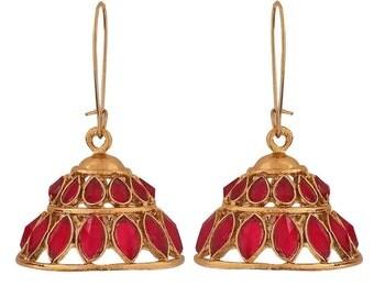 Pretty Magenta Indian Ethnic Ceremony Lever-Back Jhumki Earrings Maayra MY9192