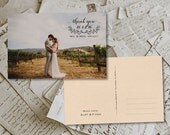 """50 Wedding Thank You Cards - Piana Rustic Photo Personalized 4""""x6"""""""