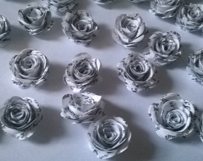 50 White Book Page Rolled Roses, Wedding Decoration, Wedding invitations,wedding centerpiece. Made to Order