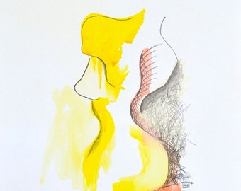 Print of Ink Illustration 'Georgia Study II with colour' by Kerry Brooks