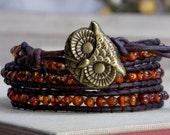 Baltic Amber Bracelet, Owl Bracelet, Wrapped Bracelet, Leather and Amber Jewelry, Autumn Bracelet