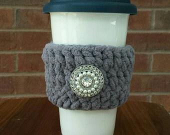 Handmade Crochet Gray Coffee Cozy with Silver Rhinestone Button, Tea Cozy, Cup Cozy, Cup Cozies